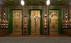 Gilded peacocks on door shutters in The Peacock Room   Paint + Pattern