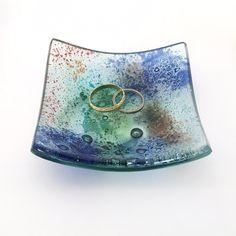 Blue Green Fused Glass Trinket Dish - Fused Glass Ring Dish - Jewellery Dish…