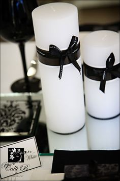 Black & white candle decor Mesa decorada em preto!