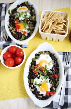 Southwestern baked eggs | need to substitute for the heavy cream (maybe pureed cannellini beans?)