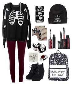"""Untitled #331"" by bandom-stuff on Polyvore featuring River Island, Wildfox, H&M, Lime Crime and Kat Von D"