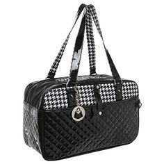 MG Collection Quilted Designer Black & White Hounds Tooth Pet Travel Tote / Soft Sided Dog & Cat Carrier - http://www.petsupplyliquidators.com/mg-collection-quilted-designer-black-white-hounds-tooth-pet-travel-tote-soft-sided-dog-cat-carrier/