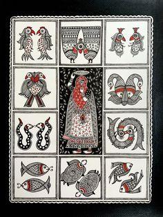 Madhubani Art, Madhubani Painting, Original Artwork, Original Paintings, Buy Art Online, Small Art, Tribal Art, Ancient Art