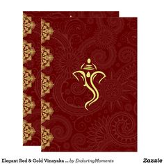 Shop Elegant Red & Gold Vinayaka Wedding Design Invitation created by EnduringMoments. Personalize it with photos & text or purchase as is! Chinese Wedding Invitation, Marriage Invitation Card, Indian Wedding Invitations, Beautiful Wedding Invitations, Wedding Invitation Design, Wedding Stationery, Invites, Wedding Card Design, Wedding Designs