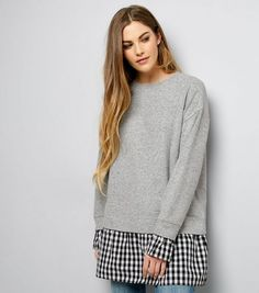 Mid Grey 2 in 1 Gingham Check Print Panel Jumper Dress | New Look