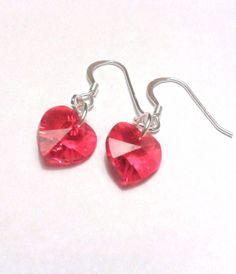 Red Swarovski Crystal Heart Dangly Sterling Silver earrings www.etsy.com/shop/twinkleplanet
