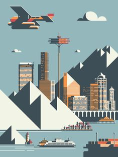 """Seattle"" print by Rick Murphy"