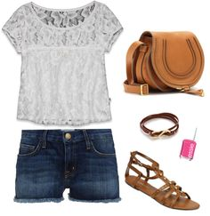 "Lace Shirt, Cut-off Shorts, Brown Accessories, Pink Nails - ""Summer Days"" by revel-v on Polyvore"