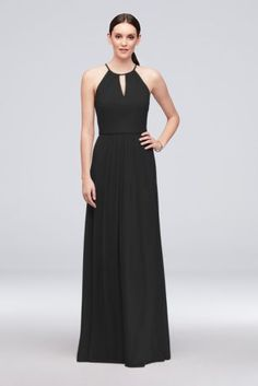 a13ebf7753e0f High-Neck Long Mesh Bridesmaid Dress with Keyhole Style F19888