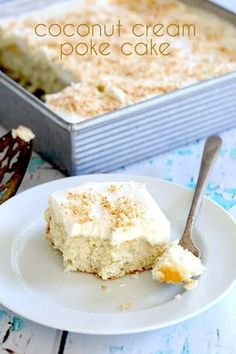 A low carb almond flour poke cake with coconut cream filling and sweet coconut topping. Deliciously sugar-free and keto! via @dreamaboutfood