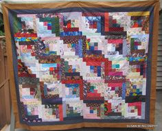 Susan being Snippy: Super Summer Snippy Challenge - Part Two  scrappy log cabin quilt top to donate to Canada's Quilts of Valour