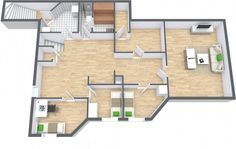 3D floor plan for multi-room house, lower level.  Hardwood floors, stairs, laundry room, bathroom, sauna, entertainment room, bedrooms.  Designed in RoomSketcher Business Edition by EiendomsMegler1.  http://www.roomsketcher.com/features/overview/
