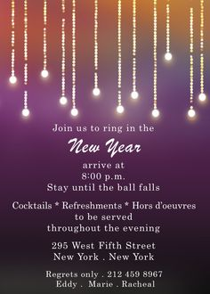 New Year's Eve Party Invitations. Ring in 2020 with a memorable party. Invitation Ideas, Party Invitations, New Years Eve Invitations, Fall Cocktails, New Years Eve Party, Cloud, How To Memorize Things, News, Cloud Drawing