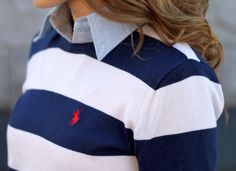 Classic Style | Navy and white rugby stripe jumper | Chambray shirt