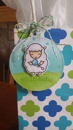 Lawn Fawn Baaah Humbug Sheep Baby Gift Tag and Bag