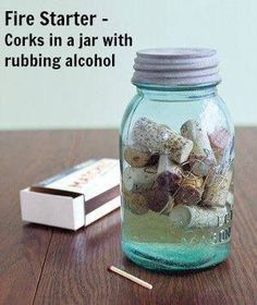 Get a blaze crackling faster. Keep WINE CORKS in rubbing alcohol in a sealed jar (stored away from the fireplace of course). Just before lighting a fire, toss a few in under the kindling.  Source: http://www.realsimple.com/home-organizing/new-uses-for-old-things/cork-as-fire-starter-00000000043196/