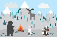 Check out the cute Kids Mountain Scene Wallpaper Mural that features a cartoon mountain design that is perfect for a child's bedroom to add a playful feel. How To Hang Wallpaper, Normal Wallpaper, Of Wallpaper, Disney Wallpaper, Wallpaper Quotes, Wallpaper Backgrounds, Iphone Wallpaper, Bedroom Wallpaper Colours, Nursery Wallpaper