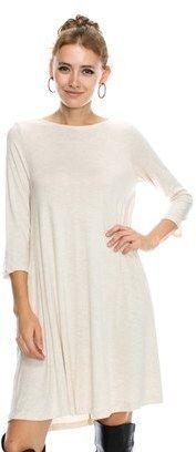 B-Sharp Collection Viscose Crepe Casual Round Neck Dress 34/ Sleeve Dress W/ Pocket.
