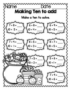 "Holiday FREEBIE: Students ""make ten"" by breaking apart a smaller number and then adding the remainder of the broken-apart number to a ten.  Working with a ten in addition is much easier than working with any other number.  Making ten by breaking apart smaller numbers is crucial to understanding place value its representation and the relationship between numbers.  All students need lots of practice with this skill in order to competently use it going forward."