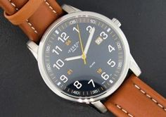 Ferro Jewelers - Watches   MENS BLUE AND TAN LEATHER EASY READER WATCH