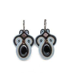 Pastel Blue Earrings Pastel Blue Chandelier Earrings Pale Blue Earrings Soutache Earrings Blue and Grey Earrings Long Earrings Big Earrings