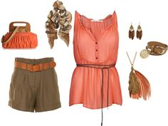 Coral and Tan, created by foofykitten on Polyvore