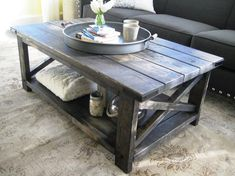 Rustic X Distressed Handmade Coffee Table – Weathered Midnight - Interior Decoration Accessories coffee tables Coffee Table Grey, Rustic Coffee Tables, Rustic Table, Pallet Furniture, Furniture Projects, Wood Projects, Center Table Living Room, Campaign Furniture, Etsy
