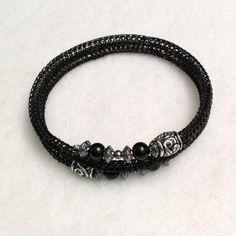 Black ladies wrap bracelet, viking knit, $30