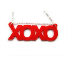 Xoxo white or red Necklace plastic kiss kiss ($11) ❤ liked on Polyvore