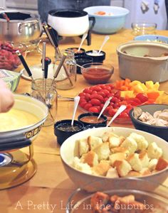 Fondue Party - recipes for meat, cheese, and chocolate fondues aww we used to have these all the time! Who doesn't love fondue!