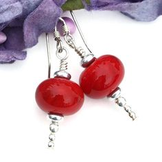 #Christmas #Red and Silver Icicle #Earrings, Lampwork Sterling Artisan Dangle #Jewelry @shadowdog #ShadowDogDesigns #ButterflysPin #Indiemade - $20.00