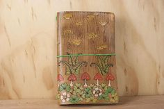 Travelers Notebook - Midori Style Journal Cover in the Ronja pattern with shamrocks, mushrooms and ferns - Green, Red and Antique Brown