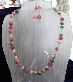 Autumn Apple Jade Necklace and Earring Set £37.50
