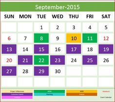 Event Calendar Maker  Excel Template  Daily With Events Design