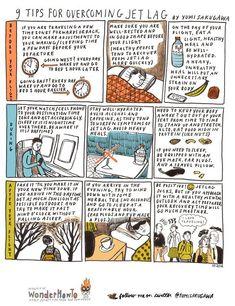 9 tips for overcoming jet lag. Infographic by Yumi Sakugawa Jet Lag, Packing Tips, Travel Packing, Traveling Tips, Travel Hacks, Travelling, Travel Outfits, Tumblr Love, Long Flights