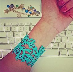 Start swooning...Blushing Branch Cuff Turquoise $18