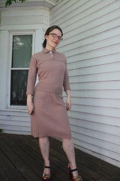 50s Pinup Sweater Skirt Knit Dress Set 1950s Vintage by soulrust