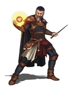 Male Human Wizard with wand no robes - Pathfinder PFRPG DND D&D 3.5 5th ed d20 fantasy
