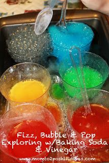 "Fizz, Bubble & Pop! Experimenting with Vinegar + Baking Soda  Love how she ""hid"" the color each experiment would be"