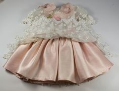 "Pink Antique Silk, Lace and Ribbonwork Couture Dress with Headband for a 19"" Antique French or German Doll"
