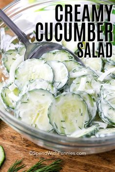 This easy cucumber salad is a refreshing summertime staple! Made with crisp cucumbers and onions tossed in a creamy sour cream, mayo, and dill dressing it is the perfect side for your next barbecue, picnic or potluck. Cucumber Salad Dressing, Easy Cucumber Salad, Cucumber Recipes, Dill Dressing, Healthy Salad Recipes, Lunch Recipes, Cooking Recipes, German Cucumber Salad, Side Dishes For Bbq