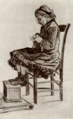 Vincent van Gogh — Girl Sitting, Knitting, 1882, Vincent van...