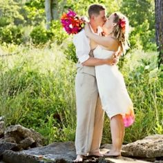 An offbeat, 100% handmade backyard wedding with orange & hot pink details, a bonfire, and the coolest alternative guest book ever. MUST see!