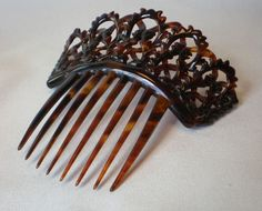 Antique Victorian Intricately Carved Tortoiseshell Hair Comb    Circa 1870