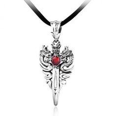 Two Dragon Sword Inlayed Zircon Silver Pendant