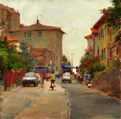 Italian Village, oil on canvas, 16 x 16 inches, $3,500