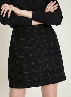 Flattering navy and grey check skirt. With zipped front pockets, wear with a fine knit tucked in for a new silhouette. Model is and wears a UK size Centre back length to hem measures Please note this garment is dry clean only. Veronica Lodge Aesthetic, Danielle Victoria, Slytherin, Audrey Horne, Sabrina Spellman, Alexander Mcqueen, Look Fashion, Couture, Rock