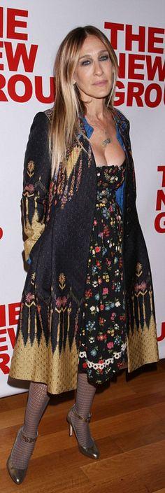 Sarah Jessica Parker in Coat – Etro  Shoes – Sarah Jessica Parker Collection