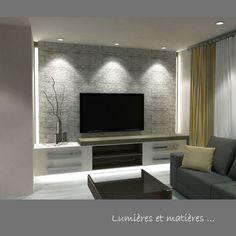 Du gris anthracite et du bois sur le mur dans un salon design ...