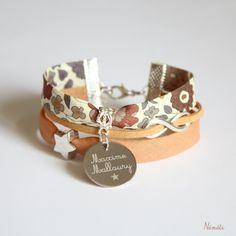 Bracelet liberty d'anjo marron moka - gravé personnalisé